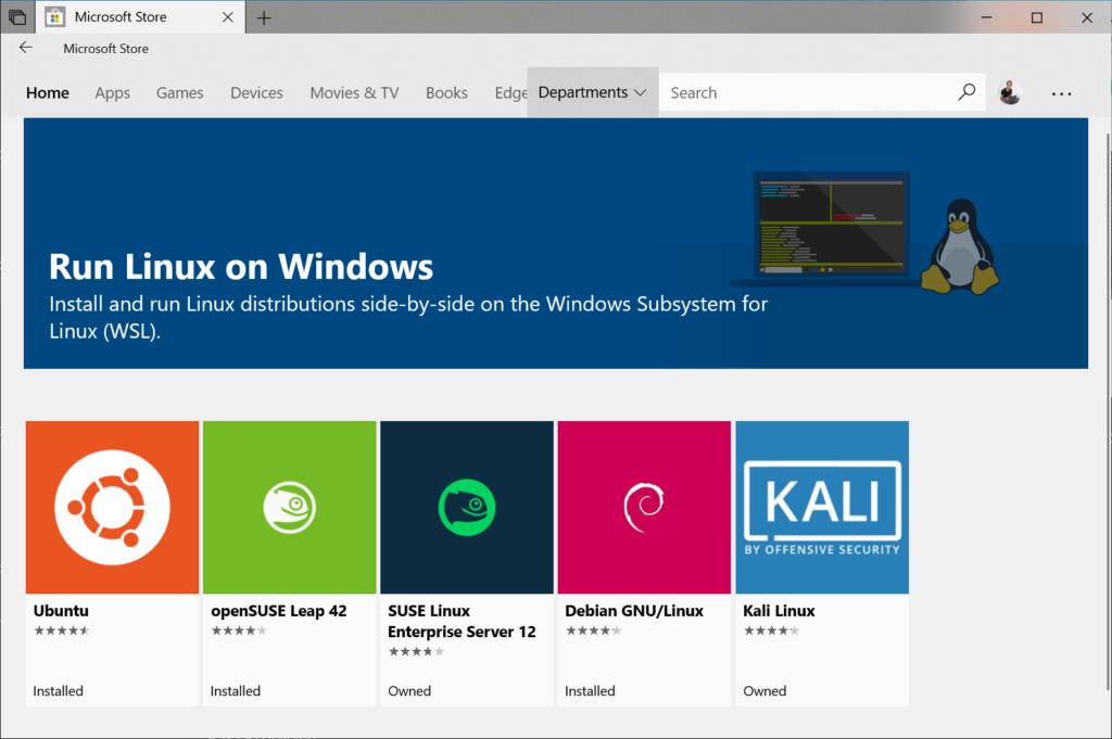 Selezione distribuzione Linux da installare su WLS