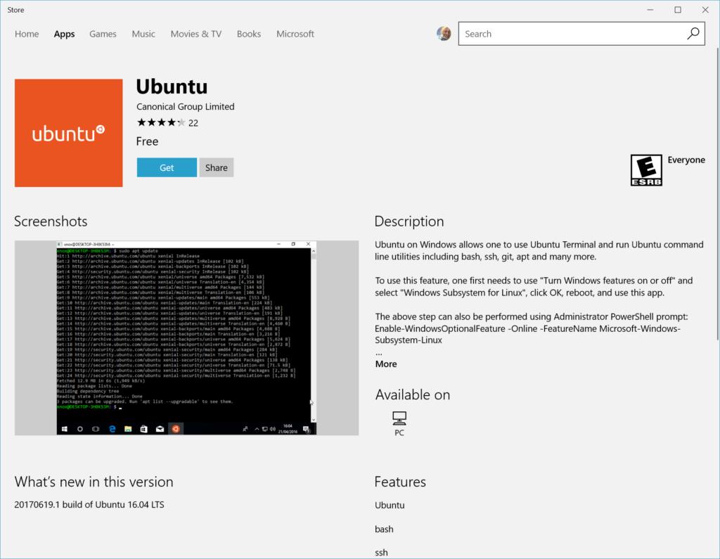 Scheda di Microsoft Store di una distro Linux per WLS